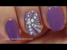 Purple Flower Water Marble for Short or Long Nails (ArcadiaNailArt)