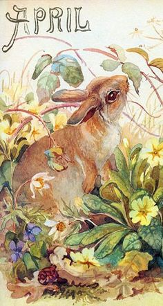 Illustration From 'The Country Diary Of An Edwardian Lady' by Edith Holden Edith Holden, Vintage Cards, Vintage Postcards, Vintage Images, Marjolein Bastin, Bunny Art, Vintage Easter, Illustrations, Retro