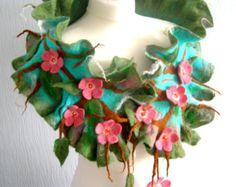 Hand Felted, Wool Jewelry felted woman ART scarf -sakura  blossom  -