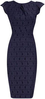 Navy lace pencil dress - Dorothy Perkins