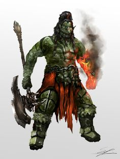 scoffsart: Another rework of an old character design, Gralosh is an intelligent Orc with a demons spirit trapped in his arm which he can use to cast various magics.
