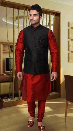 Red Art Silk Black Nehru Jacket Style Kurta Pyjama