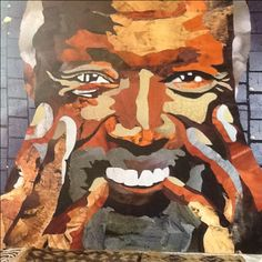 Ousmane Sow  Collage sur bois 80x80 Ko