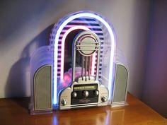 Vintage Cicena Marilyn Neon Radio, Art Deco Design AM/FM stereo Radio, Flashing Neon Radio. $180.00, via Etsy.