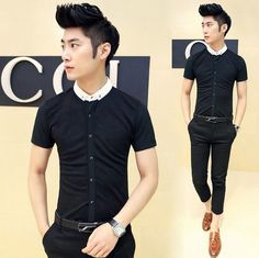 2014 Mens Slim Fit Unique Contrast Collar Fashion Shirts Men Shirts Cheap Wholesale $24.66 Korean Fashion Winter, Korean Fashion Casual, Mens Office Fashion, Men Fashion, Fashion Design, Cheap Shirts, Men Shirts, Fashion Pants, Fashion Shirts