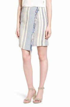 Halogen® Fringe Faux Wrap Pencil Skirt (Regular & Petite)