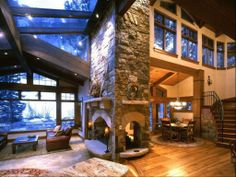 3-sided fireplace keeps the entire living area warm.