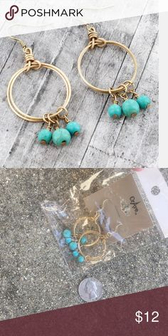 "Gold tone earrings with faux turquoise beads Worn Goldtone * Faux Turquoise Beads * Fish Hook Style Earrings with 2"" Drop Jewelry Earrings"