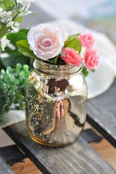 Mercury vase and pink flowers from a DIY Floral Crown Bar via Kara's Party Ideas