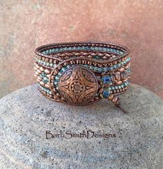 Copper Blue Beaded Leather Cuff Bracelet The by BarbSmithDesigns Bracelet Cuir, Copper Bracelet, Copper Jewelry, Leather Jewelry, Beaded Jewelry, Beaded Leather Wraps, Leather Cuffs, Leather Cord, Beaded Wrap Bracelets