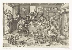 Pieter van der Borcht (I) | Magere keuken, Pieter van der Borcht (I), Pieter Brueghel (I), Pieter van der Heyden, 1563 - 1608 | Een 16de-eeuws keukentafereel. In een bouwvallig huis zitten enkele magere apen rondom een tafel. Ze graaien uit een schaal met mosselen. Eentje drinkt een kom met soep. Verspreid over de grond liggen wortels, rapen en kool, groentes voor de armen. Boven de haard worden vissen gerookt, ook armenvoedsel. Een dikke aap is op bezoek geweest, maar probeert nu weer weg…