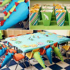 Dinosaur Birthday Party - SO cute! Dinosaur Birthday Party, 4th Birthday Parties, Boy Birthday, Birthday Ideas, Dinasour Party, Deco Originale, Festa Party, Childrens Party, Party Themes