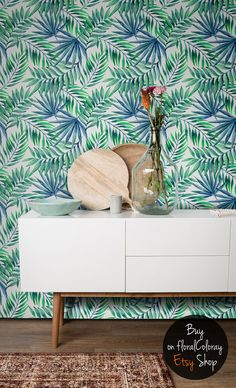 Palm leaves / Exotic Watercolor / Removable wallpaper by floralCOLORAY Palm Leaf Wallpaper, Tropical Pattern, Self Adhesive Wallpaper, Tropical Decor, Pattern Wallpaper, Wall Sticker, Wall Murals, Etsy, Designer