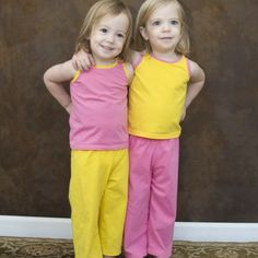Kids Versatility Tank & Pants - Basic pajama pants/capris/shorts with either yoga band or elastic. Tank also includes a built in shelf bra and can be made as a sports bra. Baby Clothes Patterns, Sewing Patterns For Kids, Sewing Projects For Kids, Sewing For Kids, Baby Sewing, Kids Pants, Tank Girl, Modern Outfits, Girl Outfits