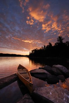 """Sunrise on Diamond Lake, Temagami, Ontario, Canada. I used the """"Darryl Benson"""" reverse ND grad filter. We were on a 7 day canoe trip in the Temagami area. Canoe Trip, Canoe And Kayak, Canoa Kayak, Diamond Lake, Sunrise Lake, Photos, Pictures, Places Around The World, Kayaking"""