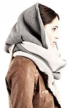 Snood shawl wrapper sweats gray - Multifunction chunky snood circle scarf made of sweats jersey fleece cotton fabric which keeps the warmth very well. Oversized loop knit scarf measures: about… Raincoat, Winter Hats, Bomber Jacket, Vogue, Style Inspiration, Hoodies, Sweaters, Jackets, Shopping
