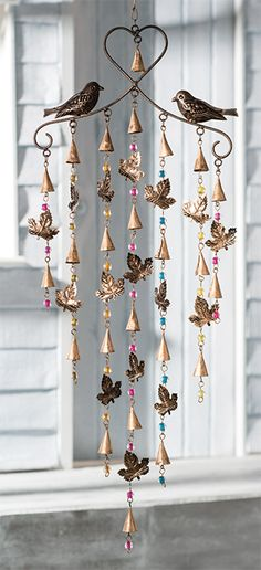 Leaf/bird winchime mobile with mixed beads