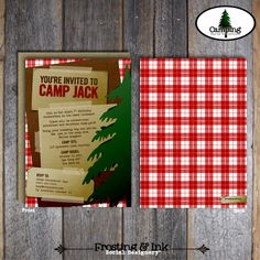 Camping Party - Invitation & Wrap Around Address Labels - Printable (Camp, Campout, Camp Out, Outdoor Adventure, Lumberjack Birthday). $20.00, via Etsy.