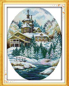 Церковь у ручья зимой, вышивка крестом