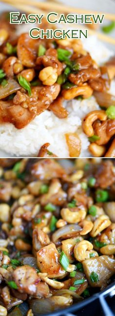 """Easy Cashew Chicken - had to make a couple substitutions (i.e. no rice vinegar, so used white) however, it was """"okay"""". I think next time I will cook chicken separate from sauce and then stir them together. Doing it the way it is written, in a wok, it was like mush with chunks of cashew....ew. -d"""