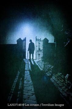 Creepy Man Standing in a Gateway in Fog by Lee Avison
