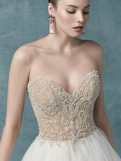 Wedding Dress Zabella by Maggie Sottero - Search our photo gallery for pictures of wedding dresses by Maggie Sottero. Find the perfect dress with recent Maggie Sottero photos. Wedding Dress Pictures, 2015 Wedding Dresses, Bridal Dresses, Beaded Wedding Gowns, Designer Wedding Gowns, Lace Wedding, Dream Wedding, Sottero And Midgley Wedding Dresses, Perfect Wedding Dress