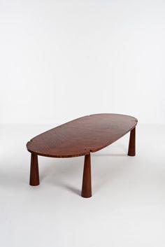 Angelo Mangiarotti; Unique Mahogany Dining Table, 1978.