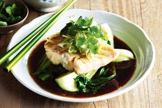 Asian steamed fish This steamed fish recipe is great for anyone looking for a quick low-fat meal. Fish Recipes, Seafood Recipes, Asian Recipes, Dinner Recipes, Cooking Recipes, Ethnic Recipes, Chinese Recipes, Oriental Recipes, Kitchens