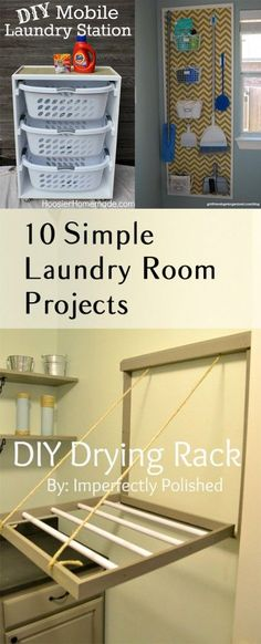 10 Simple Laundry Room Projects - I LOVE several of these ideas, und3r the washer and dryer basket storage and sliding barn door. #shabbychicdecoronabudget