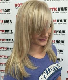 40 Side-Swept Bangs to Sweep You off Your Feet : Shoulder-Length Blonde Hair With Bangs Side Fringe Bangs, Layered Side Bangs, Side Fringe Hairstyles, Side Swept Bangs, Long Layered Hair, Long Side Fringe, Medium Layered, Braided Hairstyles, Blonde Hair With Bangs