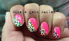 Neon Pink Neon Leopard Skittles Nails half and half nail art design