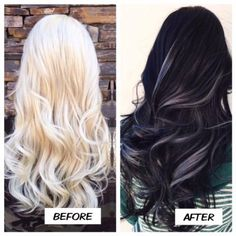 """Doug O'Connell (@dougoconnell13), a balayage, color and extension expert at Salon 5150, Brea, CA., says his """"client came into me wanting a change. I had done her before and we always do a white platinum all over. This time she wanted something dark and silvery."""" Here he shares the details for this transformation: STEP 1: Apply Aveda 1N to the base and then go through and apply the same shade to desired panels of the hair."""