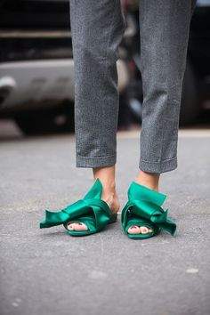 Add these eye-catching green mules to your every day ensemble for a statement look.