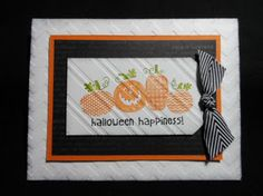 Halloween Happiness - Cardstock: Whisper White, Basic Black, Pumpkin Pie -  Markers: Old Olive, Pumpkin Pie, Basic Black - Designer Series Paper: Witch's Brew  -Big Shot: Chevron Embossing Folder, Stylish Stripes Embossing Folder