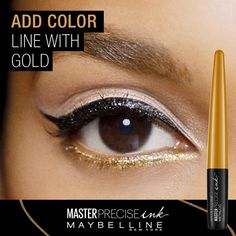See how to easily create 3 different eyeliner looks using NEW Master Precise Ink Metallic Liquid Liner from Maybelline.  Try just the cat eye or add color to go bold.  Feeling daring? Go even bolder by adding a cut crease.  Up to 24 hour wear and budgeproof.