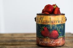 Strawberry Ceramic Pail Rustic Vintage Decor, Rustic Charm, Accent Pieces, Fresh Flowers, Coffee Cans, Garden Inspiration, Strawberry, Fairy, Ceramics