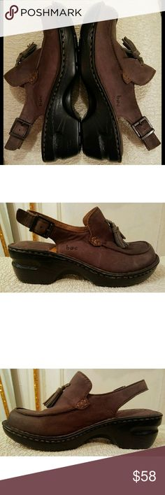 """b.o.c. Chocolate Tarte Clogs.  NEW. Dark brown soft leather clog. Square toe strapped chunky platform. Taupe double-tassels on upper; detailed stitching. Insole technology w/ arch support for added comfort. Adjustable ankle straps w/ buckle. Delicate heel design.  2.2"""" heel; 1"""" platform. 9.2"""" long- fits size 6.5 shoe.  ORIGINAL SAMPLE.  Has showroom mutilation on bottom of both shoes.  This flaw is only on outer rubber.  Effortless beauty with classic silhouette. b.o.c. Shoes Mules & Clogs"""