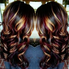 Winter/fall Color in Fall Hair Colors 2019 collection - HairSimply Hair Color Highlights, Hair Color Balayage, Fall Highlights, Auburn Balayage, Haircolor, Hair Color And Cut, Cool Hair Color, Dark Cherry Hair Color, Winter Hairstyles