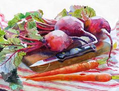 ARThouse Studio School: Painting vegetable still life--beets and carrots on a cutting board