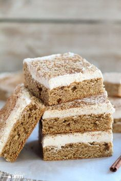 Soft and flavorful chai spice cookie bars filled with the comforting flavors of chai spice and topped with a thick layer of vanilla-chai frosting. Recipe courtesy of Allison from Celebrating Sweets.
