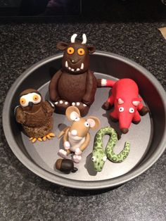 Cake toppers - gruffalo, fox, snake, owl and mouse