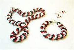 Red White And Black Dutch Spiral Jewelry Set By Kiddercreations 85