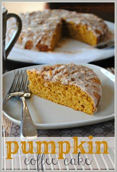 Pumpkin Coffee Cake with Cinnamon Struesel - delicious coffee cake (makes 2). Freezes well! #pumpkin #coffeecake @shugarysweets