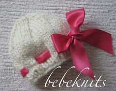 Hand Knit Baby Hat in Ivory with Eyelet and Pink Bow