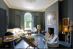The Room that Launches a Color Craze. Farrow and Ball #26 Downpipe Estate Emulsion. Down right stunning!