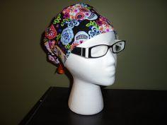 447dd19ea44 Sugar Skulls Surgical Scrub Hat by FourEyedCreations on Etsy Scrub Hats
