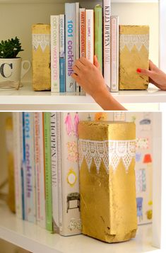 Spray painted bookends with lace