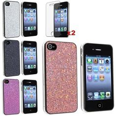 Amazon.com: eForCity 4 Bling Glitter Hard Case Skin compatible with iPhone® 4 4G Version iPhone® 4S - AT, Sprint, Version 16GB 32GB 64GB, with 2 screen protector free: Electronics
