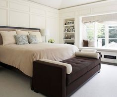 Roomy Neutral Bedroom-love the window seat and window treatment