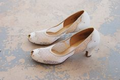 vintage 30s High Heels  1930s White Mesh and Leather by jessamity, $103.00
